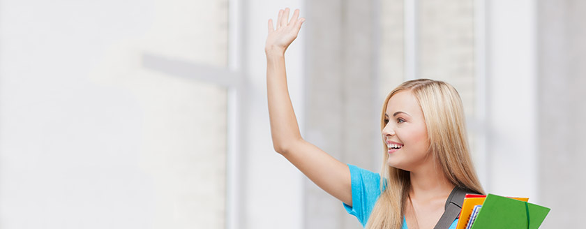 Girl Student Waving Goodbye to Parents